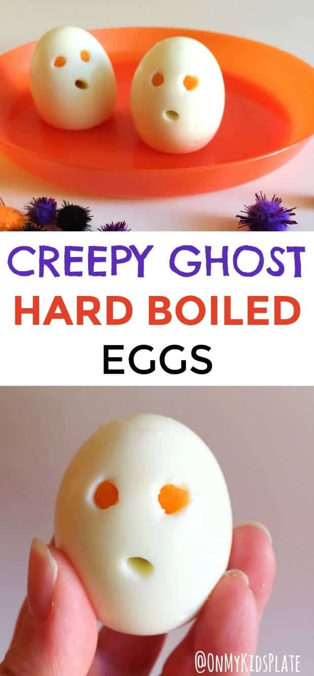Long picture of three hard boiled eggs, two on a plate and one being held by a hand up close made to look like ghousts with holes created for eyes and a mouth!