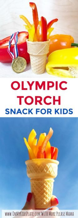 Two ice cream cones, one on a blue background and one sitting on a table, full of sliced bell peppers to be a snack for kids that looks like the Olympics torch. One ice cream cone is surrounded by a medal and several peppers, the other is being held up high in the air in victory against a blue sky.