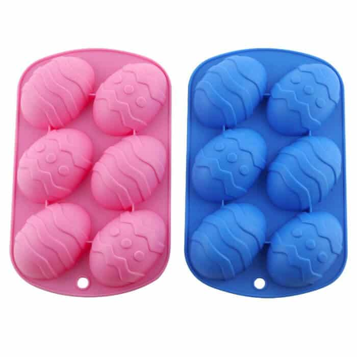 Two silicone pans with fun easter egg shapes perfect for Popsicles, chocolates, treats or baking.