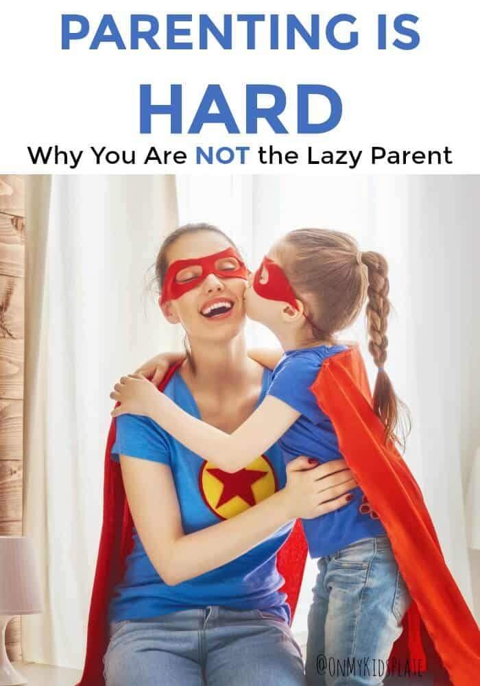 A mom kneels down next to her elementary school aged daughter who kiddses her cheek. They are both dressed in super hero costumes with blue shirts red capes and masks. Above them is the title