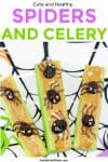Three pieces of celery sit on a Halloween spider web plate covered in peanut butter. Each piece of celery is topped with raisins made to look like spiders with chocolate legs and eyes.