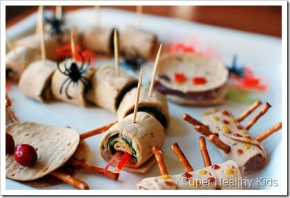 Spider and bug shaped sandwiches