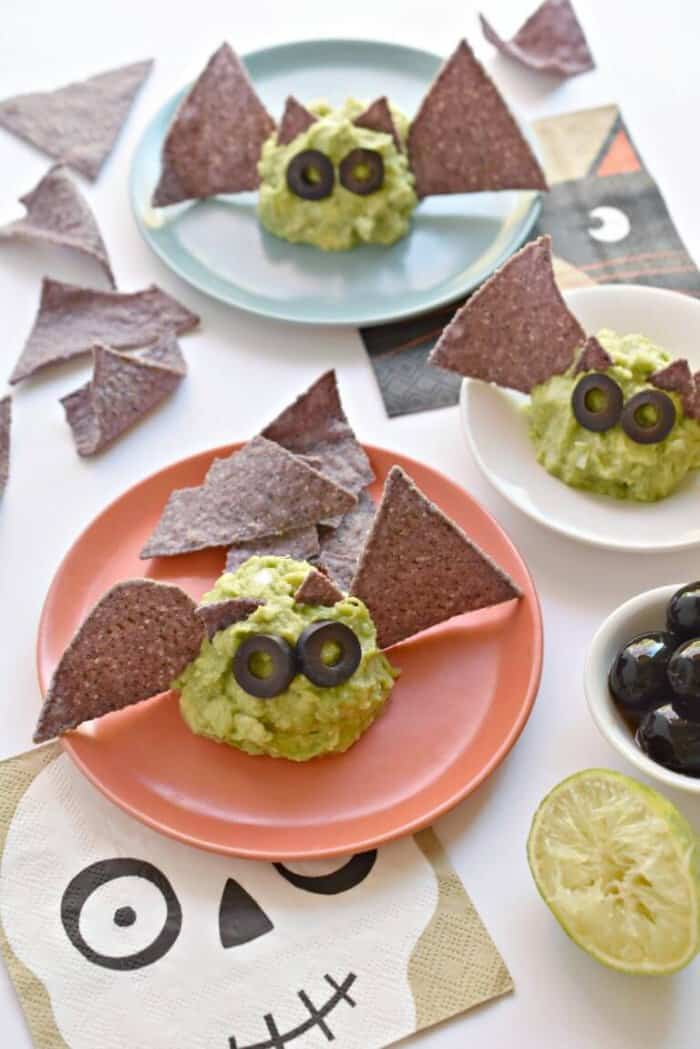 guacamole decorated like bats