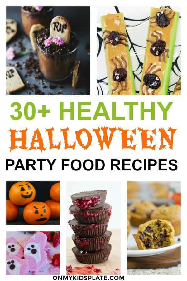 Collage of healthy Halloween snacks with text title overlay