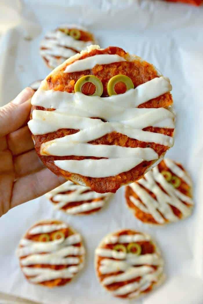 Mummy shaped pizza