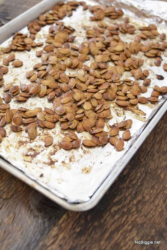 pumpkin seeds roasted on the pan