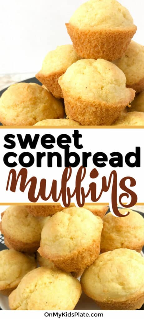 A large pile of sweet cornbread muffins stacked high and shown closed up with a text title overlay.
