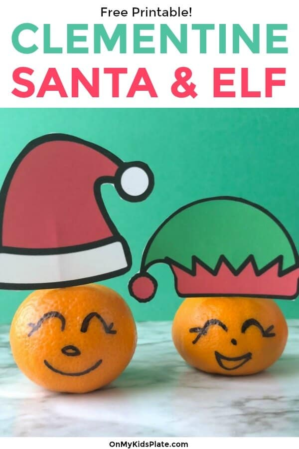 Looking for fun holiday snacks that are easy and healthy for kids? (ad) This clementine Santa and Elf is perfect for school, the lunchbox or a Christmas event treat. Free printable included! #onmykidsplate #funfoodforkids #holidayparty #christmascrafts #schoolparty #christmas #christmaspartyideasforkids #kidsparty #kidspartyideas #lunchbox #lunchboxideasforkids #santacraft #christmascraft #christmascraftforkids