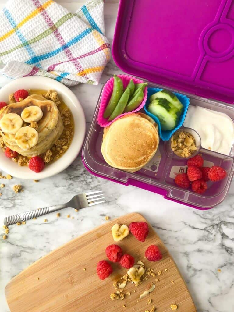 pancakes on a plate and in a lunchbox for a child