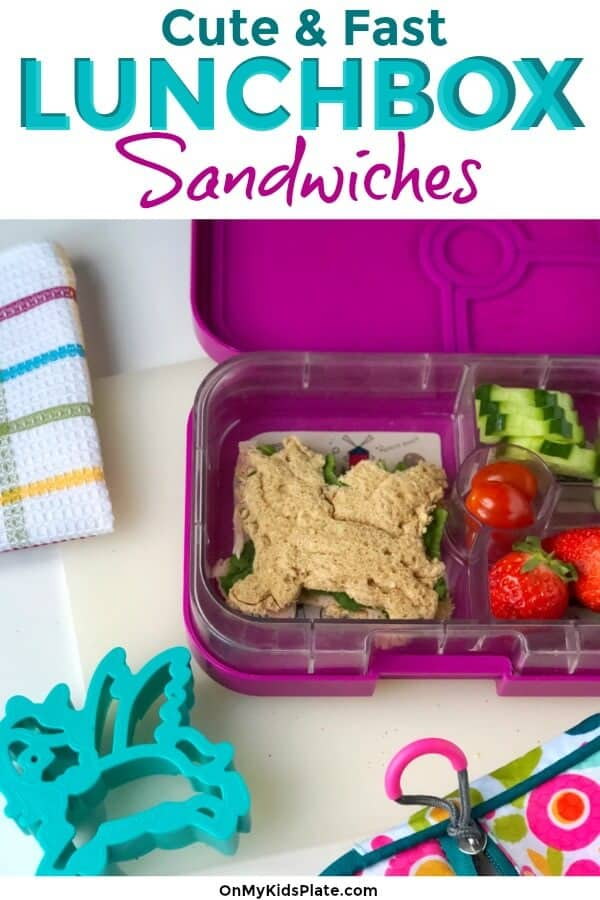 Cute and fast healthy lunch ideas including a unicorn sandwhich in a lunchbox for a kid.