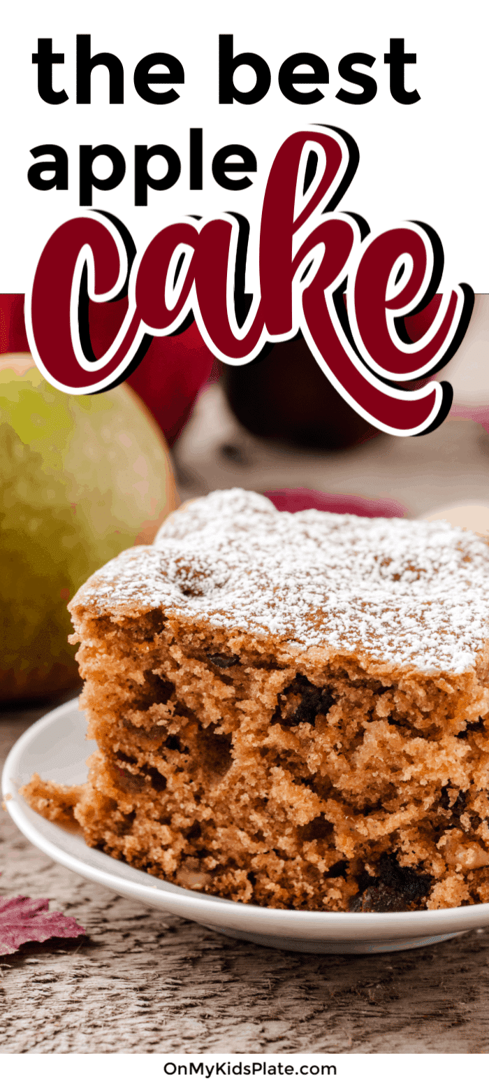 This delicious apple cake is recipe is packed with so many yummy flavors! Cinnamon, walnuts, dates and raisins all make this apple cake delicious. Use applesauce to make this recipe extra moist and gooey for a delicious treat. #onmykidsplate #applerecipe #cake #dessert #easydessertrecipe #baking