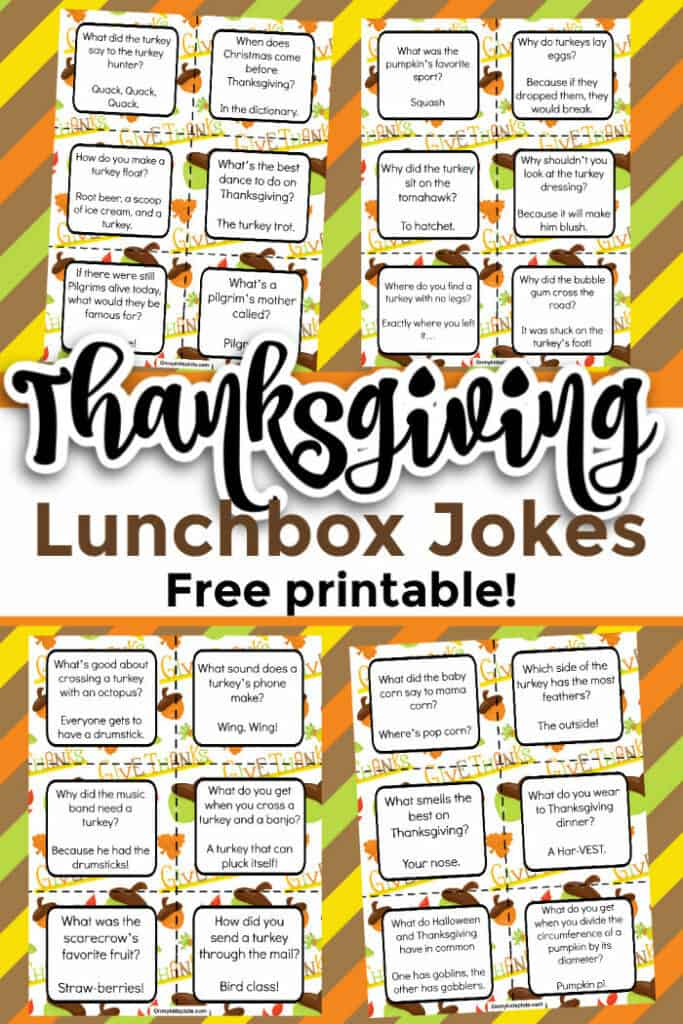 Thanksgiving lunchbox jokes are show with a title overlay