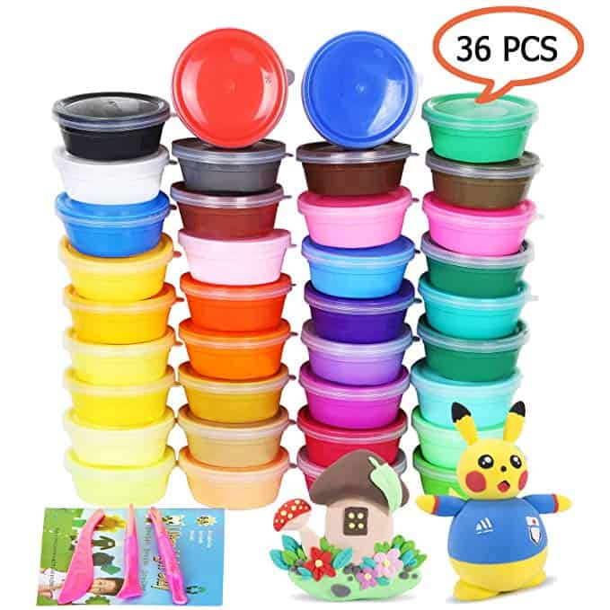 Air Dry Clay 36 Colors Modeling Clay No-Toxic Ultra Light Magic Clay Set with Tools