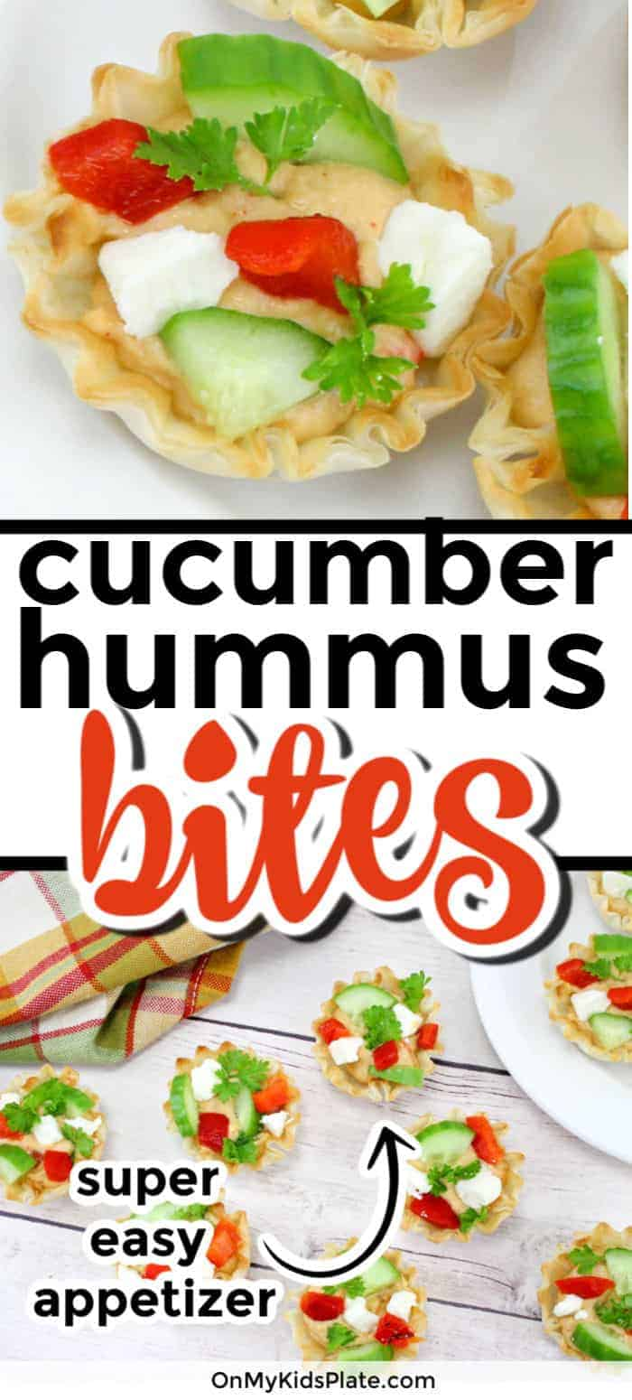 These super easy cucumber hummus bites is the perfect fast appetizer for a party. Made with crunchy cucumbers, creamy hummus dip, and topped with colorful peppers and feta, it makes for great healthy appetizers or snacks! Loaded with veggies, it makes a great snack for kids. #onmykidsplate #hummussnacks #hummusappetizer #easyappetizer