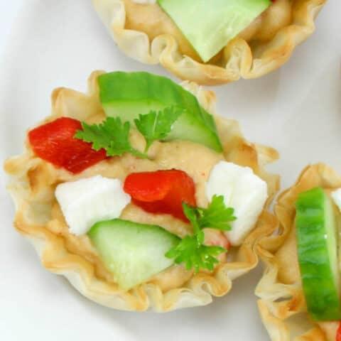 Cucumber Hummus Bite Appetizers