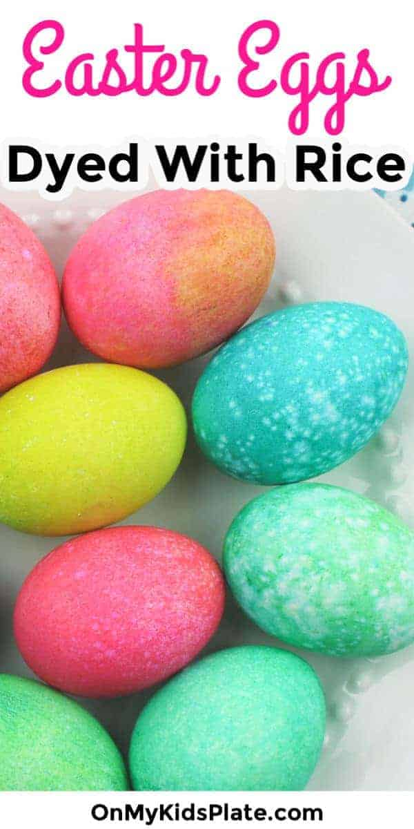 Make pretty speckled Easter Eggs and learn how to dye hard boiled eggs with rice and food coloring! These easy, low mess eggs are so much fun for kids with a super easy clean up after the fun.