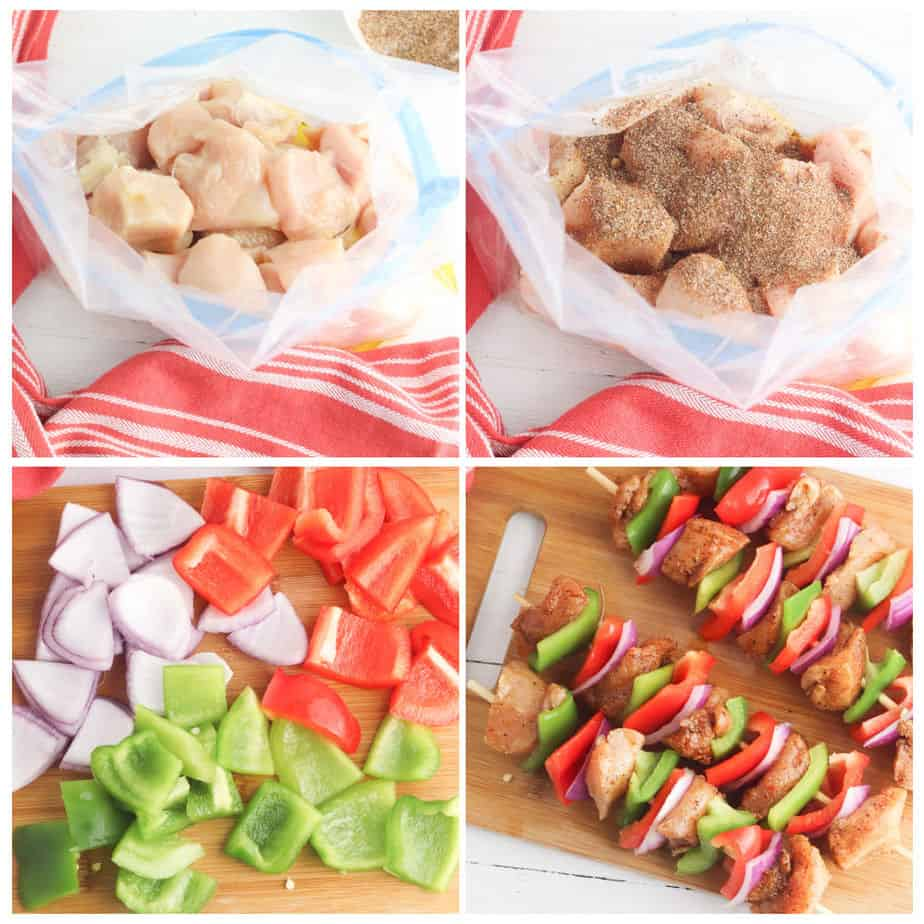 Step by step images of putting the 1 inch chicken breast in a bag, marinating, chopping peppers and onions and threading chicken and veggies on skewers to be grilled.