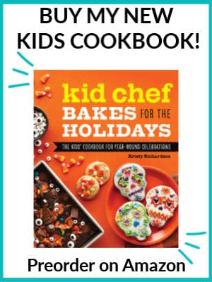 The cover of the new kids cookbook Kid Chef Bakes for the holidays with a test title overlay that says: Buy my new kids cookbook, preorder on amazon.