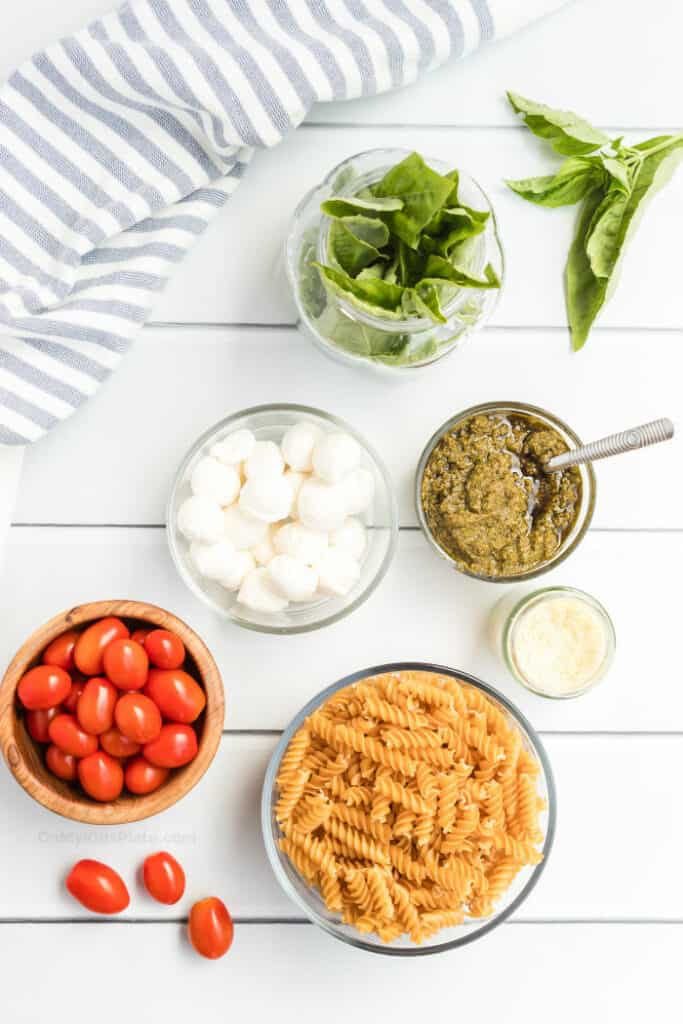 Ingredients to make pesto pasta salad sit in bowls including pesto, mozzarella, cherry tomatoes, dried pasta, parmesan cheese and fresh basil.