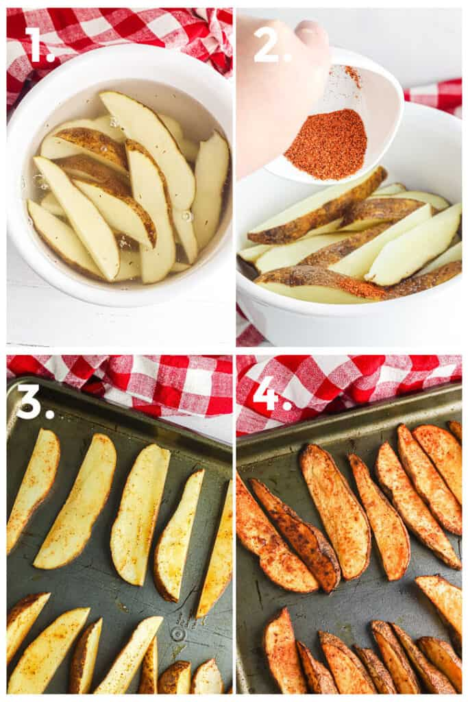 Step by step pictures of how to soak potato wedges in water, then adding seasoning, adding potatoes to the pan evenly and then golden brown after cooking.