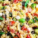 Close up view of Italian Pasta Salad