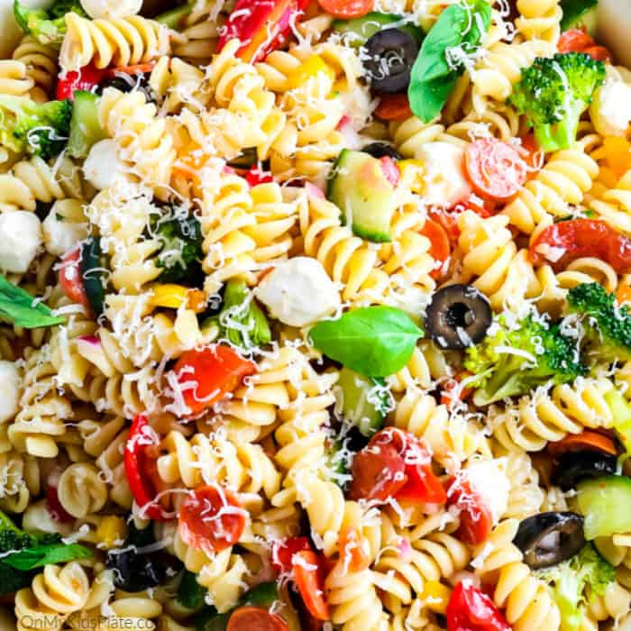 Close up view of Italian Pasta Salad