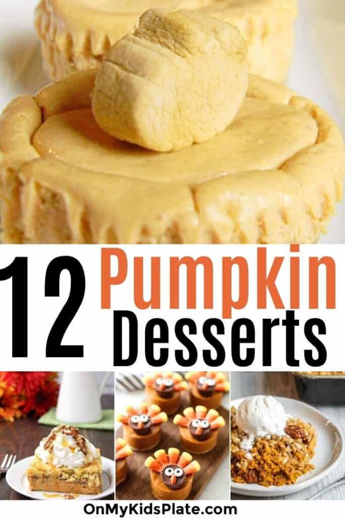 Four pumpkin desserts with a text title overlay