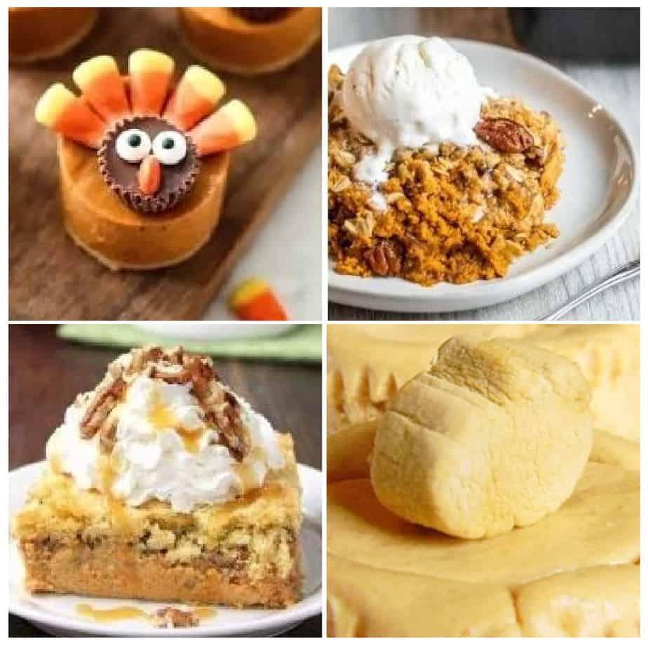 Four pumpkin deserts including one decorated like a turkey, a cobbler, a cake and one shaped like a pumpkin.
