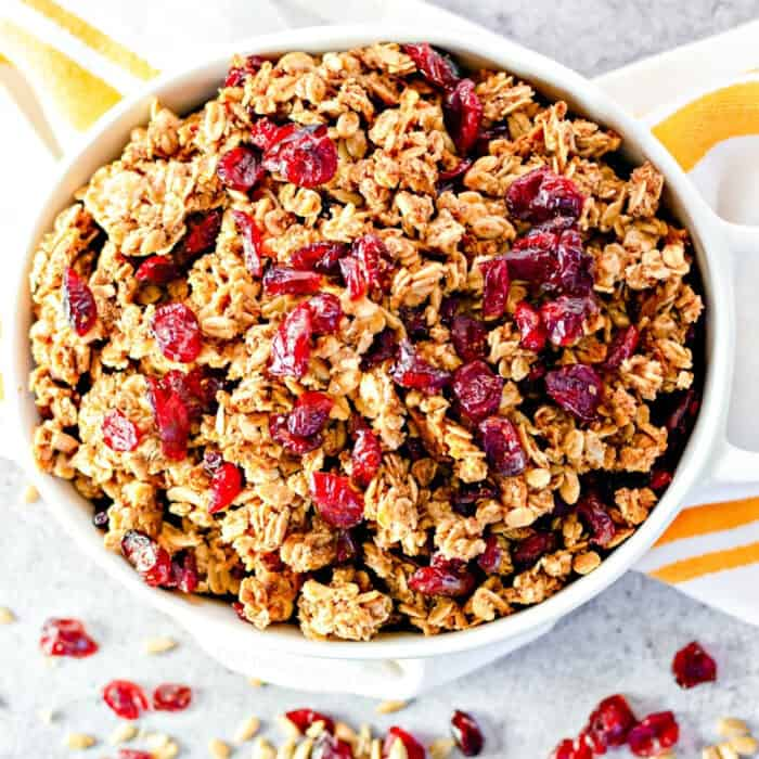 Bowl of cranberry granola from overhead