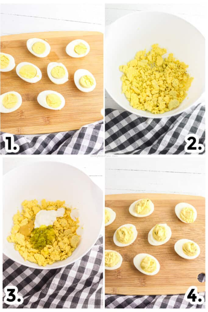 Step by step images of slicing the eggs, mixing the egg yolks, adding the ingredients and filling the egg whites to make deviled eggs.
