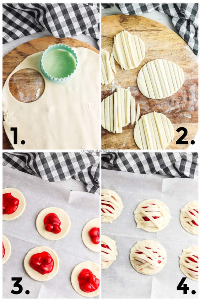 four different pictures showing cutting circles out of pie dough, sliced strips for mummy bandages, filling the pies with cherry filling then adding the top strips to the pies.