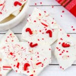 Close up of white chocolate peppermint bark with sprinkles