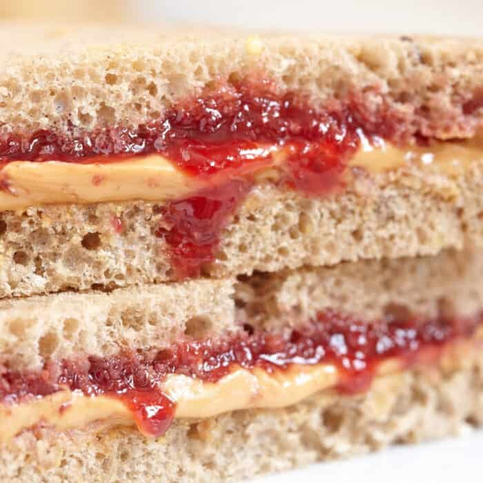 gooey peanut butter and jam cut sandwich