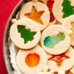 close up plate of stained glass cookies
