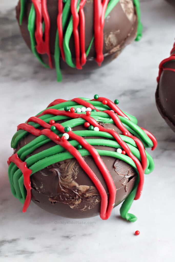 Close up of hot cocoa bomb