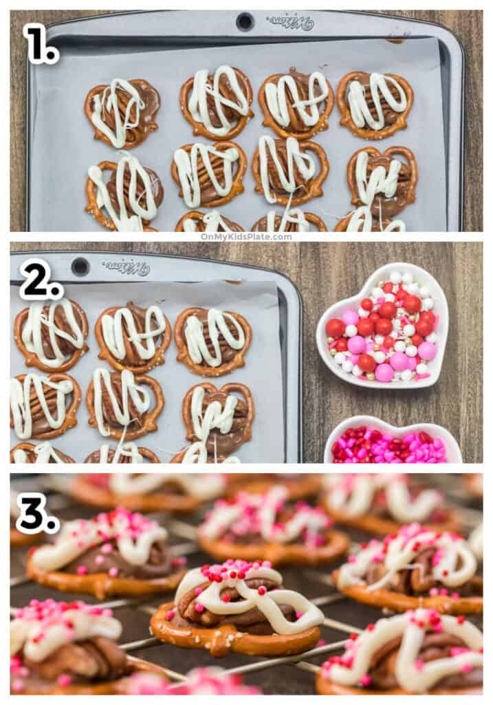 Step by step photos showing homemade pretzel turtles being drizzled with white chocolate, sprinkles and cooling.