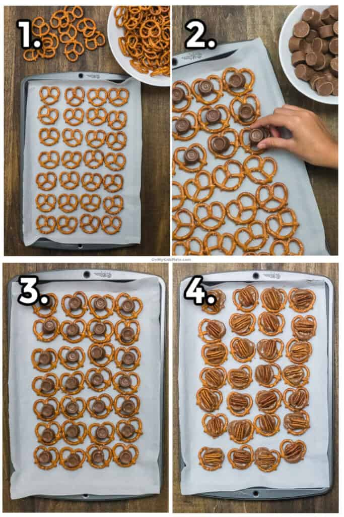 Step by step photos collaged showing chocolates being placed on pretzels, melted and pecans being added.