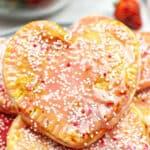Close up of a heart shaped pop tart