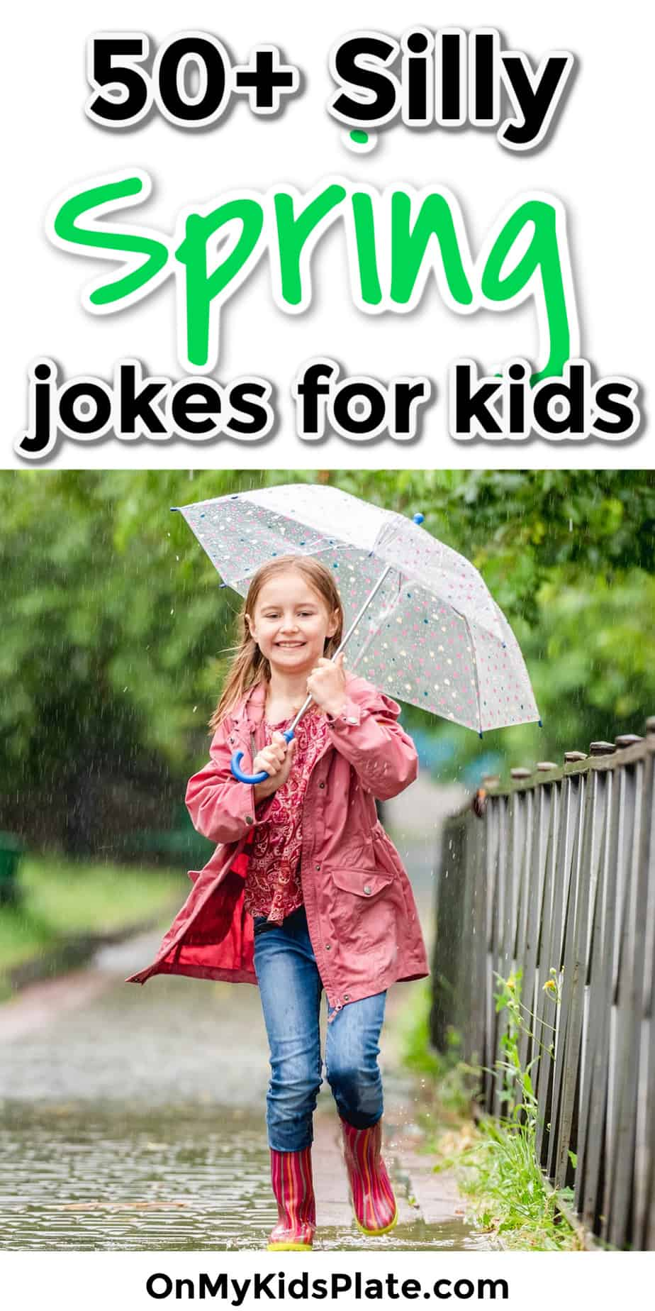 Girl laughs jumping in spring puddles with an umbrella with text title overlay