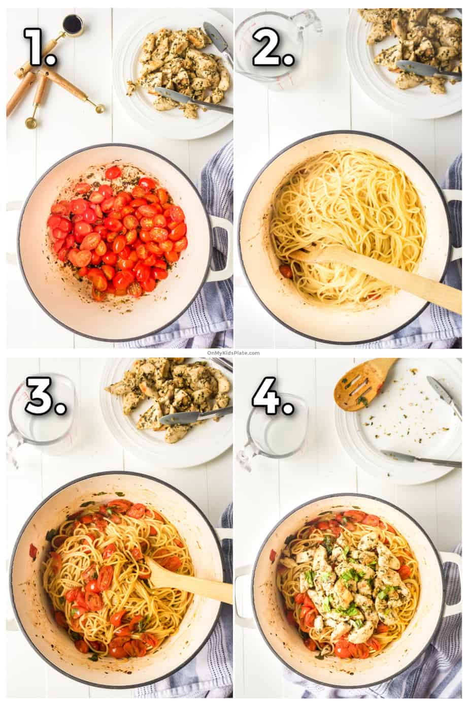 Images show cooking and mixing the tomatoes and herbs to make a sauce, spaghetti, chicken, and basil