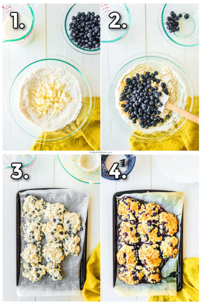 Step by step images mixing the biscuits, adding blueberries, putting on the pan and baking.