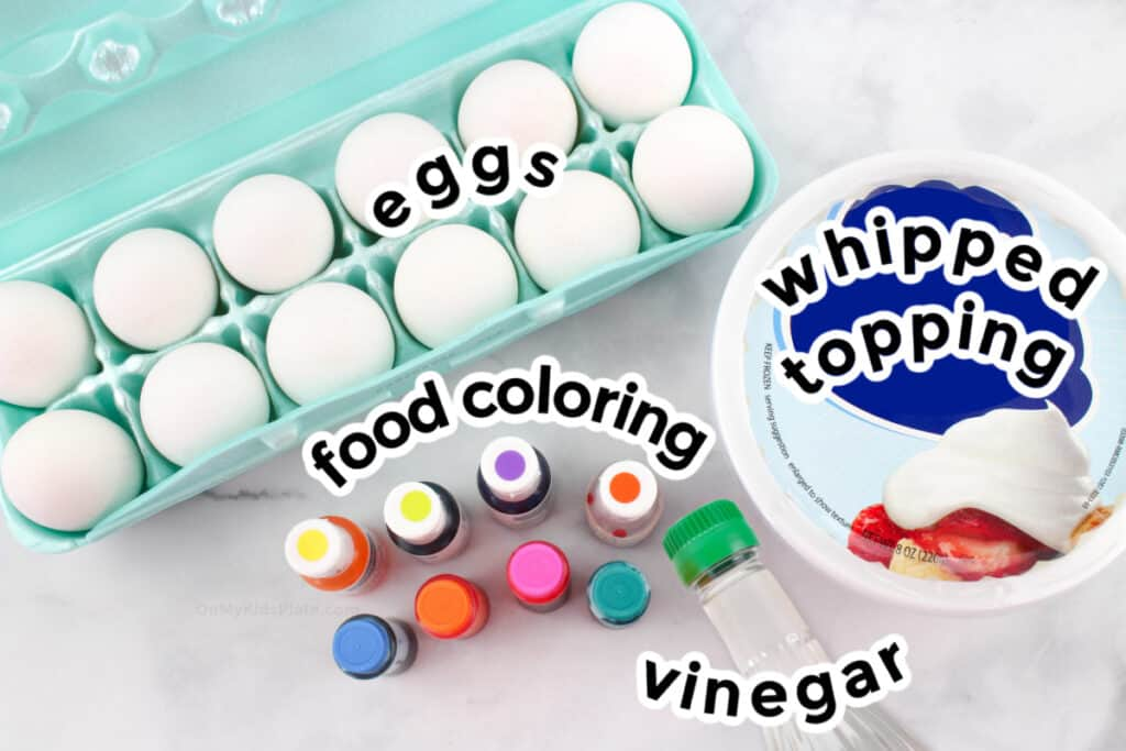 Ingredients to dye hard boiled eggs with cool whip and food coloring to make Easter Eggs.