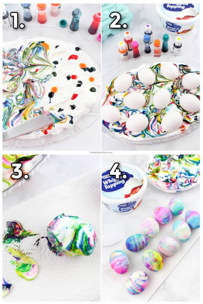 Step by step process photos showing adding food coloring to cool whip, rolling hard boiled eggs in the cream, then whipping the eggs to make colorful dyed Easter Eggs.