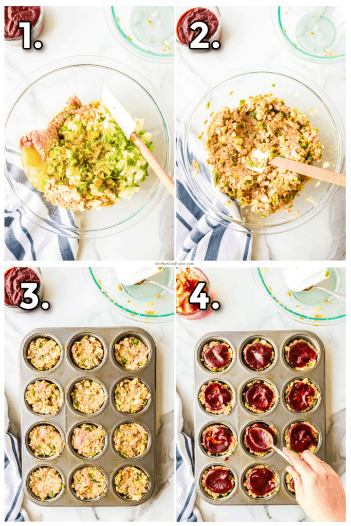 Step by step pictures showing mixing the turkey meatloaf ingredients, adding the meat to the muffin pan and topping with BBQ sauce.