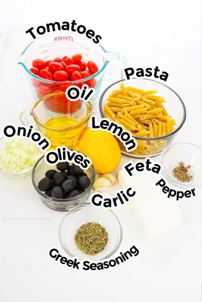 Ingredients for baked feta pasta