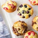 Up close strawberry, blueberry and chocolate chip banana pancake mix muffins